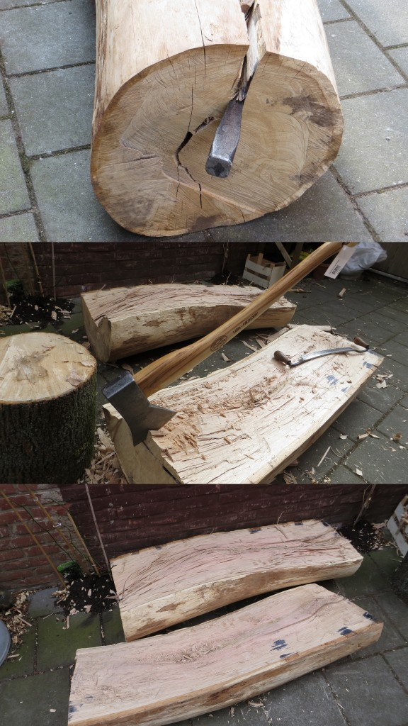 Splitting oak log